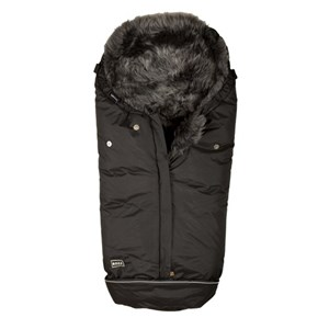 Image of BOZZ Footmuff with Long-haired Lambskin Black/Grey (3125338515)