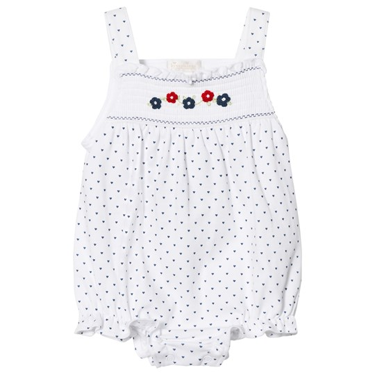 Kissy Kissy Dainty Daisy Print and Embroidered Romper White WH