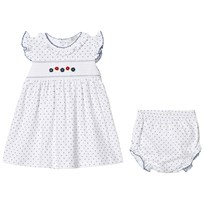 Kissy Kissy Dainty Daisy Print and Embroidered Smock Dress with Knickers White WH