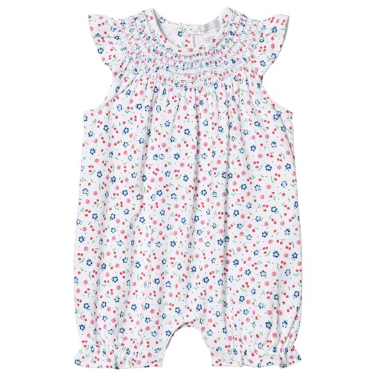 Kissy Kissy Cherry and Floral Print Smocked Neck Romper Vit WH
