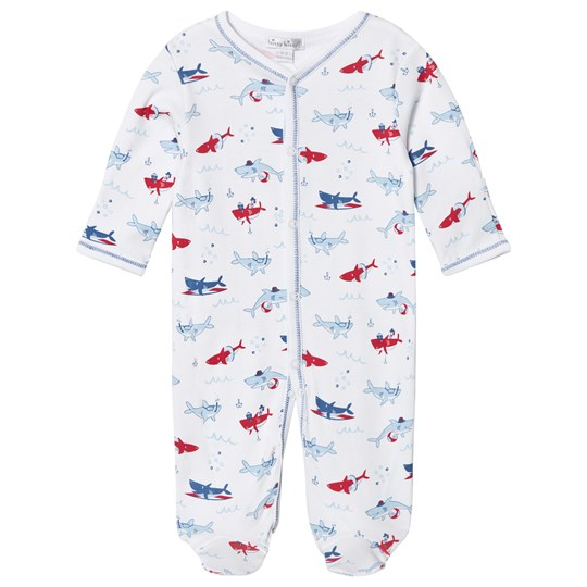 Kissy Kissy Shark Print Footed Baby Body White WH