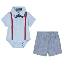 Andy & Evan Polo Baby Body with Shorts Gray LBE