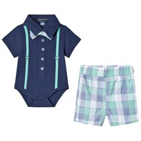 Andy & Evan Polo Baby Body with Shorts Navy and Green NVG