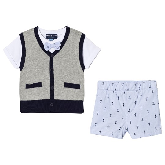 Andy & Evan Sweater with White T-shirt and Anchor Shorts Gray and Blue GYL