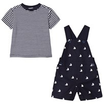 Andy & Evan Sailboat Overall with Striped T-shirt Navy and White NVO