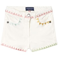 Andy & Evan Shorts with Multicolored Triangle Embroidery White WHG