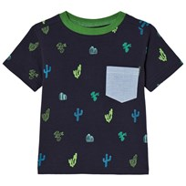 Andy & Evan Pocket T-shirt with Cacti Print Navy NVL