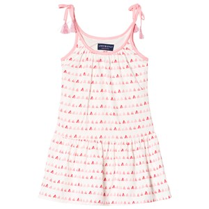 Image of Andy & Evan Gathered Dress with Triangle Print White and Pink 2 years (3001926985)