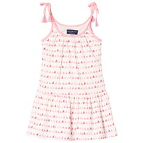 Andy & Evan Gathered Dress with Triangle Print White and Pink PKM