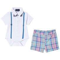 Andy & Evan Polo Baby Body and Plaid Shorts White WHE