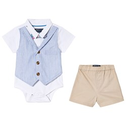 Andy & Evan Polo with Vest, Bow Tie and Shorts Blue and Khakioat, Bow Tie and Khaki Shorts