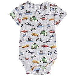 Hust&Claire Transport Print Baby Body Pearl Gray Melange