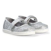 Toms Silver Iridescent Glimmer Tiny TOMS Mary Janes Silver