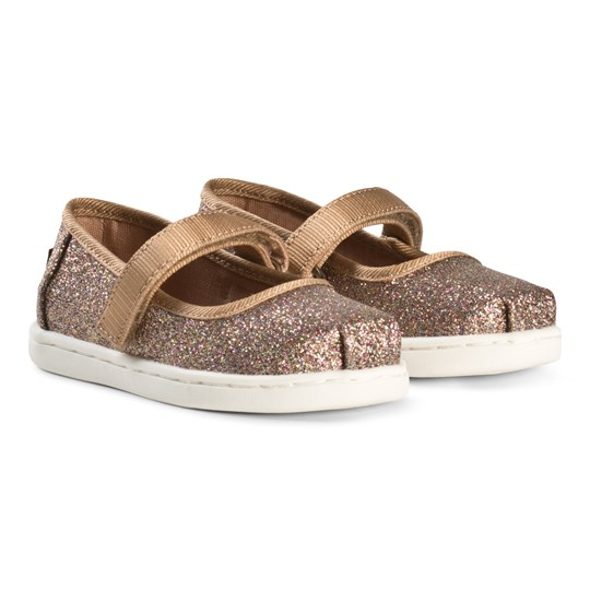 Toms Gold Iridescent Glimmer Tiny TOMS Mary Janes Gold