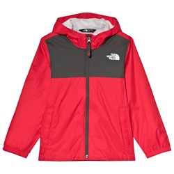 The North Face Red and Grey Zipline Waterproof Rain Jacket
