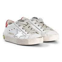 Golden Goose White Leather Superstar Metallic Star Trainers WHITE LEATHER-RED