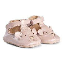 Easy Peasy Pearl Pink Loulou Bear Velcro T Bar Crib Shoes 75