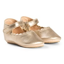 Easy Peasy Gold Charlie Scallop Detail Ballerina Shoes 347