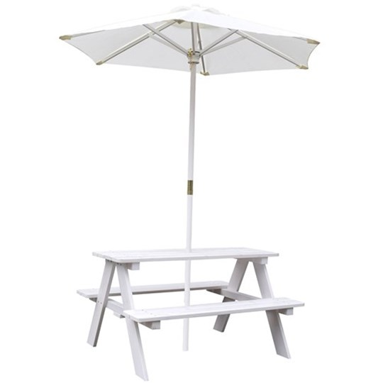 JOX Furniture Picnic Table with Parasol White White