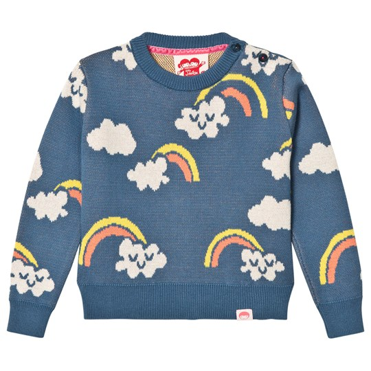 Tootsa MacGinty Rainbow And Cloud Print Jumper In Blue Ink Blue