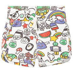 Tootsa MacGinty Multicolored Print Jersey Shorts In White