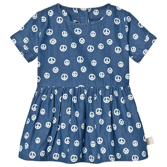 Tootsa MacGinty Peace Sign Smock Dress In Blue Ink Blue