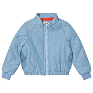 Image of Tootsa MacGinty Bomber Jacket With Rainbow Print Back In Light Blue 12-18 months (3001924665)