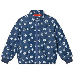 Image of Tootsa MacGinty Bomber Jacket With Peace Signs In Blue 6-8 years (3001922709)