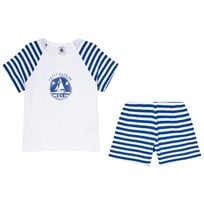 Petit Bateau White and Blue Stripe Pyjamas