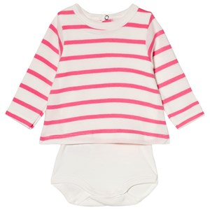 Image of Petit Bateau Red and White Stripe Baby Body 1 Month (3001927007)