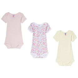 Petit Bateau Pink, Floral and Yellow 3 Pack Baby Body