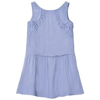 Carrément Beau Sky Blue Cotton Dress with Broderie Lace Detail 880