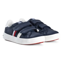 Tommy Hilfiger Leather Velcro Sneakers Marinblå
