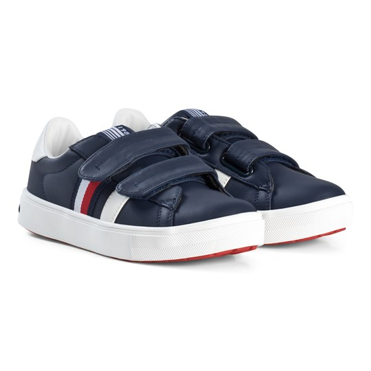 Tommy Hilfiger Leather Velcro Trainers Navy X007