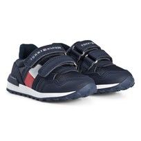 Tommy Hilfiger Branded Velcro Trainers Navy and White X007