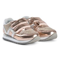 Tommy Hilfiger Velcro Glitter Trainers Rose Gold X060