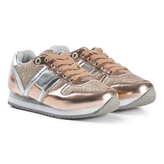 Tommy Hilfiger Glitter Lace Trainers Gold and White X061