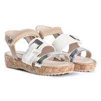 Mayoral Cork Platform Sandals In White and Silver 51