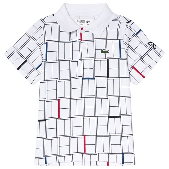 Lacoste White Printed Tennis Shirt White/Black-Red