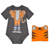 Converse Gray and Orange Tiger Baby Body and Hat Set Charcoal Heather