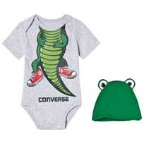 Converse Gray and Green Crocodile Baby Body and Hat Set LUNAR ROCK HEATHER