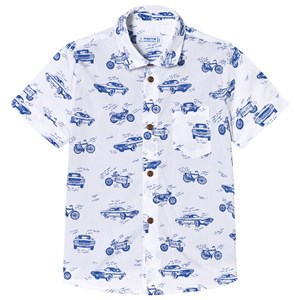 Image of Mayoral White and Blue Vehicle Print Shirt Effect T-Shirt 7 years (3003087421)