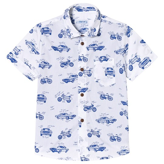 Mayoral White and Blue Vehicle Print Shirt Effect T-Shirt 94