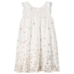 Mayoral Star Embroidered Tulle Dress Off-White