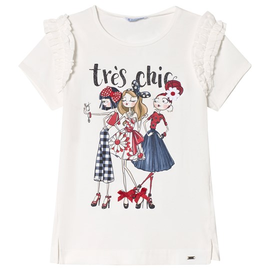 Mayoral Three Girl Print Diamante Ruffle Tee In White 26