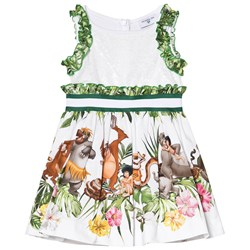 Monnalisa White and Green Jungle Book Print and Sequin Party Dress