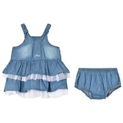 Guess Blue Denim and Tulle Tiered Skirt Dress and Bloomers Set