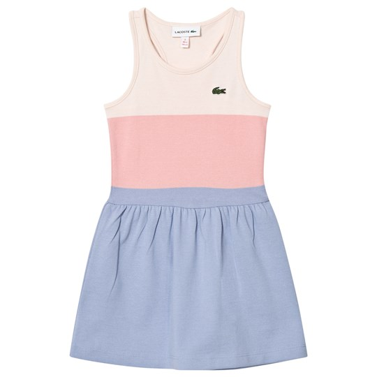 Lacoste Pink Cream and Blue Panelled Sleeveless Dress Eggshell/Fairy Pink
