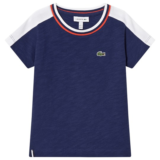 Lacoste Navy and White T-Shirt Maritime/White