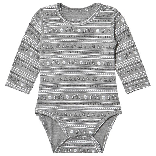 Hust&Claire Light Gray Melange Long Sleeved Baby Body Light Grey Melange